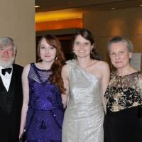 Cy and Lyndia Harvey flank their grandaughters, Megan and Brynn Zajkowski