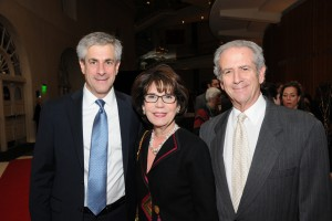 Eric Pollock, JFS board chair, left, with honorees Senator Joyce  and  Rabbi Steven Foster