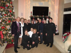 Al and Terri Fisher & Lawrence French and his fab Lifestyles Catering staff at Terri Fisher's holiday party