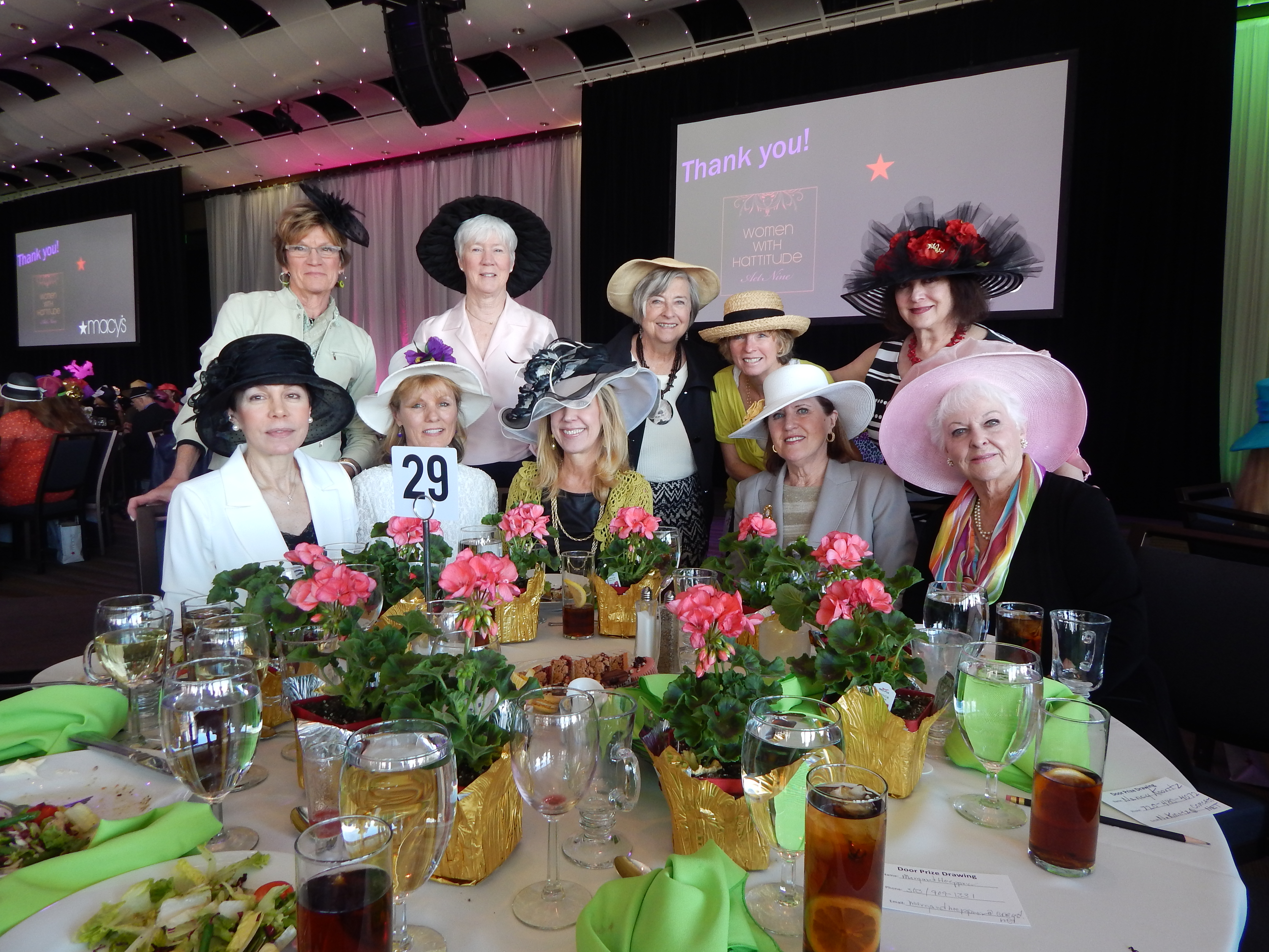 "At ""Hattitude"" for the DCPA: Front Row: Peggy Larsen, Trisha Hood, Keri Christiansen, Joanne Davidson, & Helen Hanks. Back Row: Mary Freund, Lois MacPhee, Ruth Ann Windmiller, Margaret Hoeppner, & Nancy Koontz"