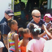 Kids flocked to see Denver firefighters and tour their fire truck.