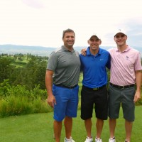 USAF Academy's head golf coach George Koury (left) with cadet golfers Brenden Bone and Troy Berglund