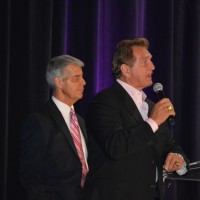 Ed Greene (left) and Joe Theismann take audience questions.