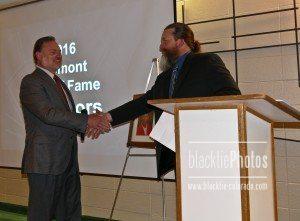 Will Colon, right, congratulates inductee Larry Oddo