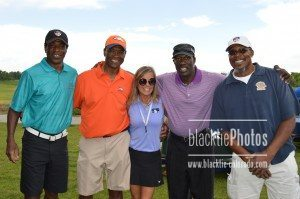 Teri Smith, Development VP, is surrounded by Denver Broncos talent and history, with (l to r): Larry Brunson, Billy Thompson, Mike Harden and Larry Evans