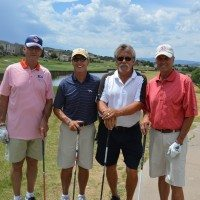 (l to r): Former Denver Broncos Steve Watson and Billy Van Heusen, Philip Scott, and former Bronco Jack Gehrke