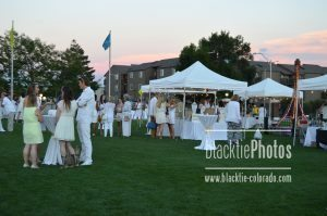 At sunset, the reception winds down and guests make their way to the dinner tent.