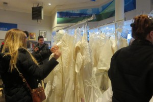 Open the doors! Goodwill Bridal Gown Sale