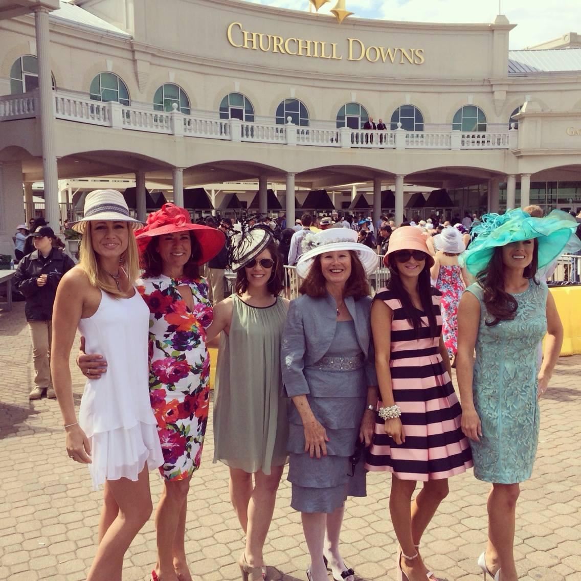 "Heather Loyall, Alison Brantley, Mary McNicholas, Eimear McNicholas, & Audra McNicholas at the ""real"" Kentucky Derby!"